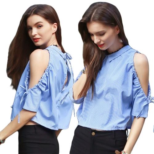 Новая мода женщины Холодная плеча Backless Футболка с отложным воротником V Назад Блуза бинты Batwing Топ Синий фото