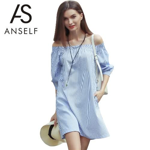 Nuevo de la manera vestido de las mujeres de la raya vertical del cuello de rayas de manga tres cuartos elásticos bolsillos flojo vestido azul ocasional