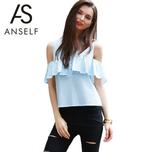 Nowa moda damska Bluzka na ramię na zimno Ruffle Overlay Button Bluzka na kolan Niebieski