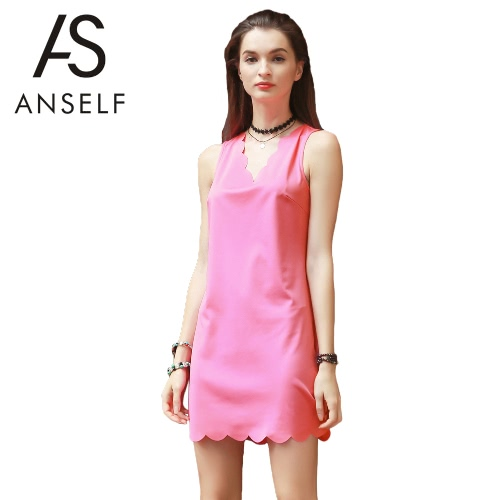 Summer Women Tank Dress V Neck Sleeveless Scalloped Edge Mini Dress Straight Sundress Shift Dress Pink