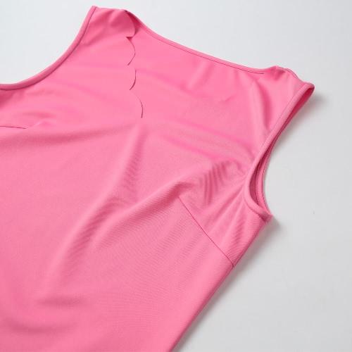 Лето Женщины Tank платье V образным вырезом без рукавов Волнистый край Мини платье Прямой Sundress Сдвиг платье розовый