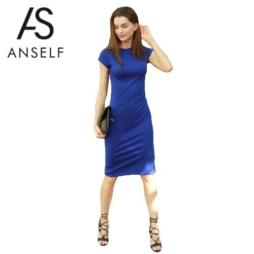 Vestido de las mujeres de la nueva manera sólido cuello redondo manga corta longitud de la rodilla ajustado de oficina elegante de una sola pieza azul royal