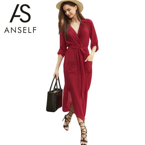 Las mujeres de la gasa atractiva alta desmultiplicación de vestir con cuello en V manga larga bolsillos de fiesta de la playa del vestido maxi Borgoña