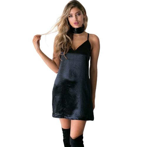 Nowe sukienki sexy sukienki Deep V-Neck Criss Cross Choker Pasek Spaghetti Silk Satin A-Line Shiny Party Mini Sukienka