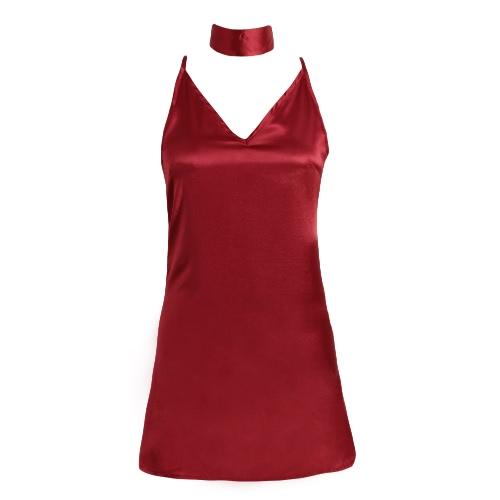 New Sexy Women Slip Dress Deep V-Neck Criss Cross Choker Spaghetti Strap Silk Satin A-Line Shiny Party Mini Dress