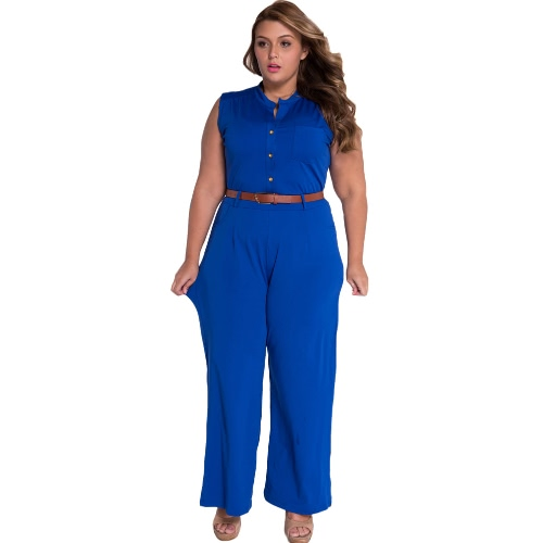 New Fashion Women Jumpsuit Button Pockets Front High Waist Wide Leg Belted Romper Playsuit