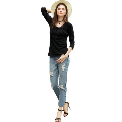 Neuer Frauen-Herbst-Winter-Plus Size T-Shirt mit Rüschen besetzte Round Neck Langarm Mutter lose beiläufige Spitzenbluse