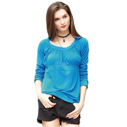 Las nuevas mujeres del invierno del otoño más el tamaño de la camiseta acanalada de cuello redondo de manga larga de la madre ocasionales flojas de la blusa superior