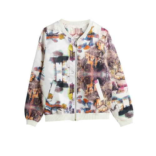 Stylish Bomber Jacket Print Zipper Long Sleeve Women's Coat