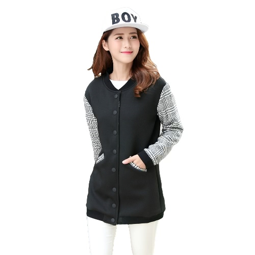 New Fashion Women Bomber Jacket Plaid Jacquard Pattern Press Stud Pockets Longline Casual Baseball Coat Black