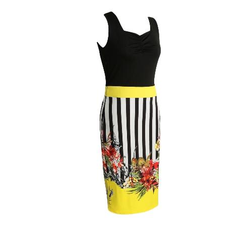 Vestido de las mujeres de la impresión floral de rayas de contraste de empalme de la cremallera con pliegues Plaza mangas de cuello vestido de Midi Negro / Amarillo