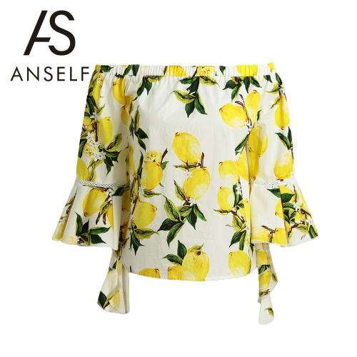 Nowe mody Kobiety Off Shoulder Bell Bluzka Ruffle Floral Print Wodospad Spadek Sexy Lady Bluzka Top Żółty