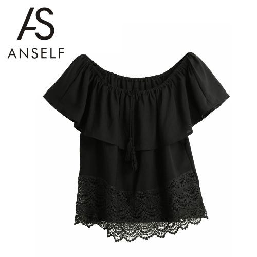 Las nuevas mujeres blusa de la gasa del hombro con cordones de las borlas de empalme manga corta volantes de encaje Sexy Lady Top del Negro de la camiseta