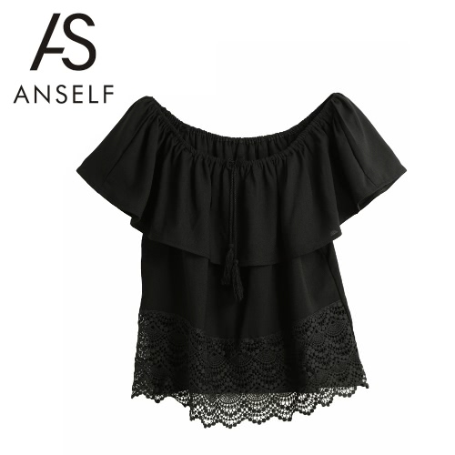 Nova Moda Mulheres Chiffon Blusa Alças auto-tie borlas Lace emenda manga curta Ruffle Sexy Lady Top Tee T-shirt preto