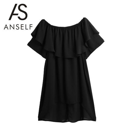 Las nuevas mujeres de la gasa del Apagado-Hombro de la blusa de la raya vertical cuello de la colmena Dip Hem Casual Top Negro