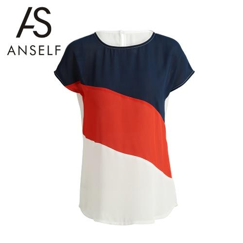 Moda Kobiet kolor-Block Bluzka Dziurka Przycisk Powrót rękawy Cap O Neck Łączenie Luźna koszulka Casual Top Biały