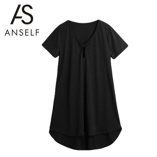 Nowe Seksowne Kobiety stałe Mini suknia wycięte V-Neck Pullover Luźna Asymetryczna Hem-line Casual Dress Czarna