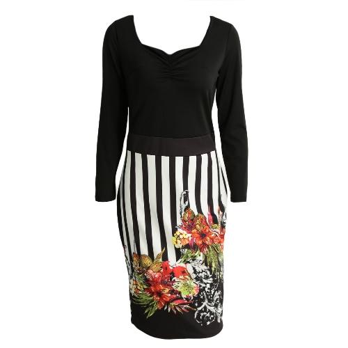 New Mulheres Midi vestido floral impressão Stripe mangas compridas Zipper Skinny elegante vestido de festa