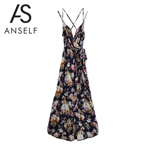 Las mujeres atractivas que el resbalón del vestido de la impresión floral de los espaguetis con cuello en V de partido ocasional de la vendimia de la correa profunda vestido azul oscuro