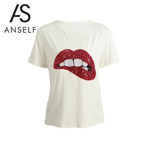 Kobiety Moda Krótki T Shirt Lip aplikacje O Neck Krótkie rękawy Luźne Casual Top Miękkie Tee Biała
