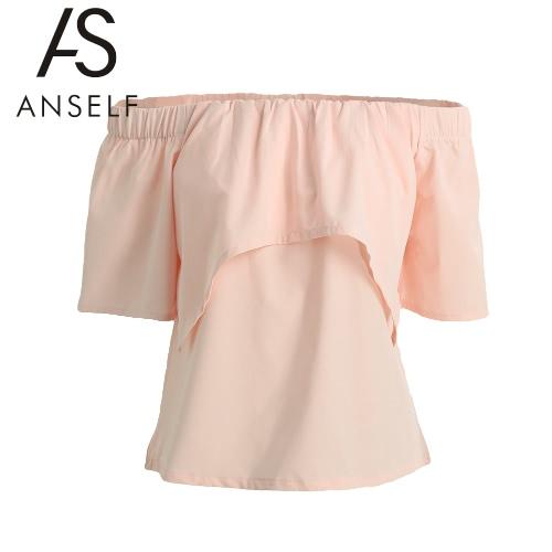 Il nuovo modo Donna Top spalle scoperte Ruffle elastico collo Tiered anteriore manica Divide casuale camicetta rosa