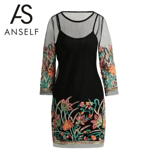 Donne Dress Mesh puro sexy ricamo del fiore della cinghia di spaghetti Estate Mini T-shirt Black Dress