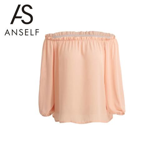 Neue Art und Weise Frauen-Chiffon- T-Shirt Slash Neck Flouncing Rüschen Laterne Hülse weg vom Schulter-zufällige Spitze Rosa