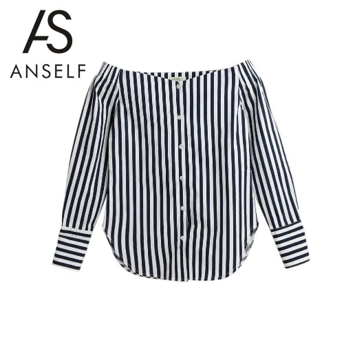 Women Striped Shirt Off the Shoulder Top Cotton Long Sleeve Female Blouse Top Dark Blue