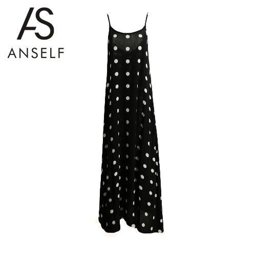 Novas mulheres Deslizamento vestido do ponto ajustável Spaghetti Strap Abrir Big balançar para trás vestido longo preto