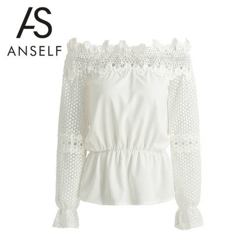 Splice Hollow nueva manera de las mujeres de la blusa del hombro del cordón del ganchillo de salida de la llamarada de manga larga elegante camisa de la camiseta Tops Blanco