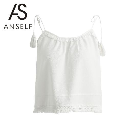 Nowe mody Kobiety Kamizelka Self-Belt Spaghetti Strap Tassel Ruffle Camisole rękawów Biały