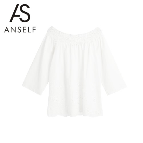 Novas Mulheres elegantes Off Shoulder Blusa bordado oco Out shirt Scalloped Hem manga comprida solta Sexy Top Branco