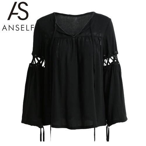 New Fashion Women Tops Criss Cross Correias Auto Tie oco Out manga comprida Casual blusa preta