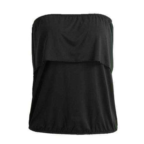 New Fashion Women Tops estiramento Strapless Ruffle Overlay Elastic guarnição Sólidos Casual Blusa Rosa / preto / azul