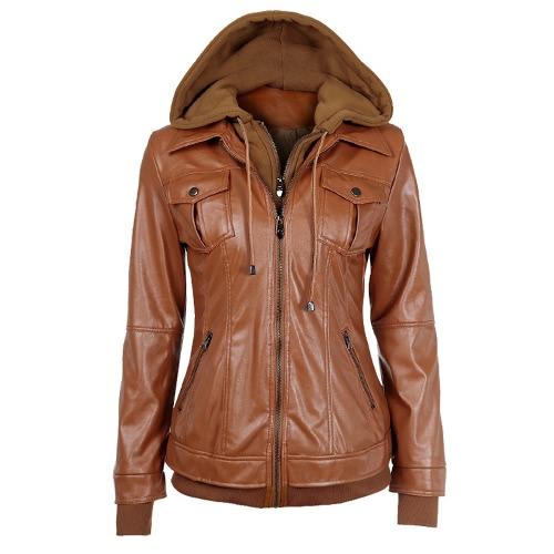 La nueva vendimia imitación de las mujeres de dos piezas de la PU de la chaqueta de bolsillo en el pecho con cierre de cremallera con capucha de manga larga de vestir exteriores del escudo