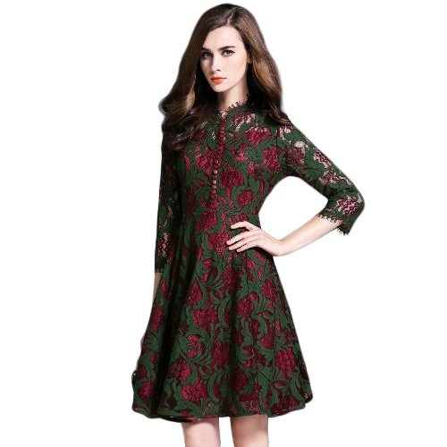 Retro Women Lace Hollow Out Dress Floral Crochet Single Breasted Zipper Three Quarter Sleeve Swing Party Dress Dark Green
