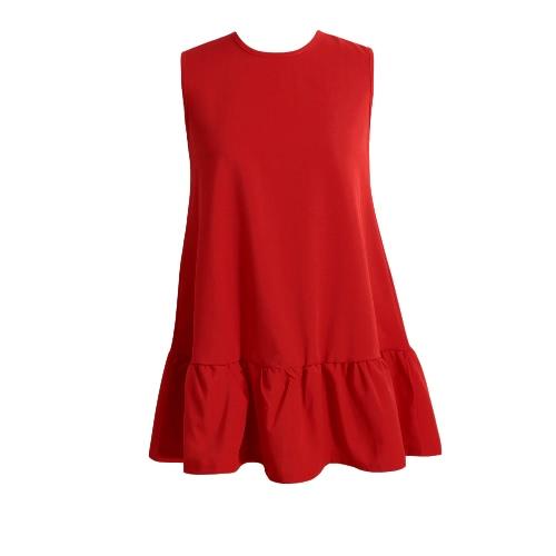 Nowe mody Kobiety Sukienka Ruffles Zipper Okrągły Neck bez rękawów Big Swing mini sukienka