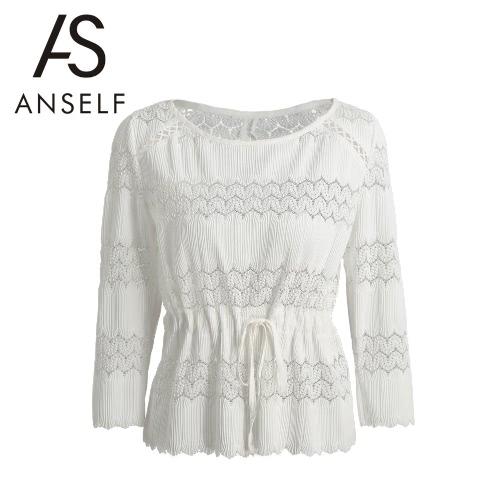 Neue Frauen-weiße Bluse Crochet Slit Zurück ausgebogter Rand Stulpe Selbst Taillenschnürung Süßes Top Weiß