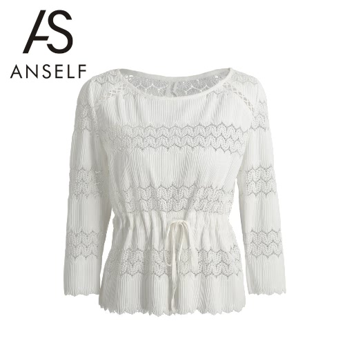 New Mulheres Blusa branca Crochet Slit Voltar Scalloped Hem Cuff Auto Tie cintura doce Top Branco