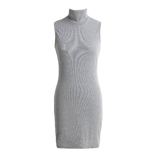 Nowe Seksowne kobiety Mini suknia bez rękawów z golfem stałe przetłoczenia BODYCON Klub Party Dress