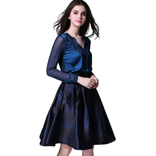 Women Elegant Blouse V-Neck Embroidery Mesh Patch Ruffled Asymmetric Hem Long Sleeve Solid Shirt Top Burgundy/Blue
