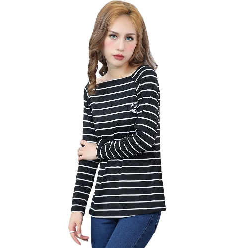 Women Striped Top Casual Long Sleeve T-Shirt Winter Spring Tee Shirt Black/White