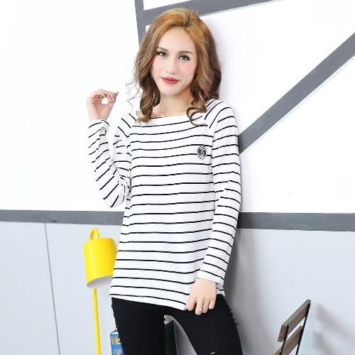 Las mujeres de copa rayado informal de manga larga de la camiseta del resorte del invierno Camiseta Negro / Blanco