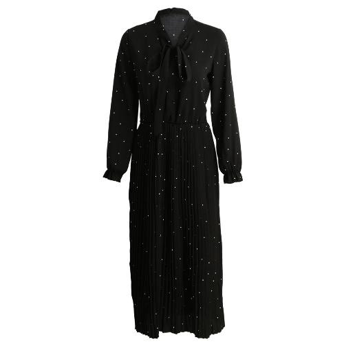 Mujeres vestido plisado del lunar del arco de la correa de cuello largo de la linterna mangas elástico de la cintura más el tamaño de vestido retro ocasional Midi Negro