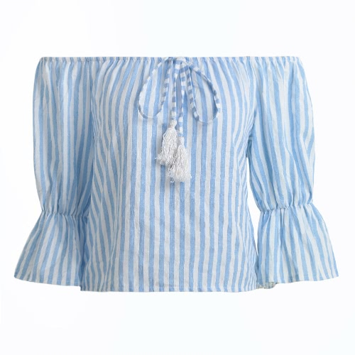 Nuova spalla delle donne Off sexy Stripes camicetta 3/4 maniche a campana Slash Neck Pullover Casual Top Blu