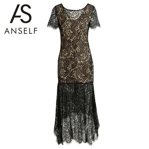 Neue Frauen-Spitze-Maxi-Kleid Sexy V Zurück Dip Hem Zurück Reißverschluss Partiell elegante lange Kleid schwarz gefüttert