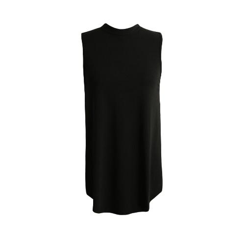 Nowe mody Kobiety bez rękawów Hollow Out Side Dzieli Przycisk Stojak Collar rękawów Casual kamizelki czerni