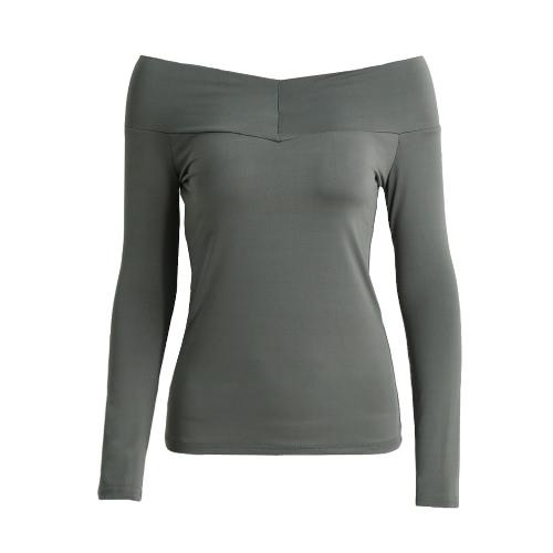 T-shirt Ombro New Sexy Mulheres Off cor sólida manga comprida Magro Bodycon Tops T branco / preto / cinza