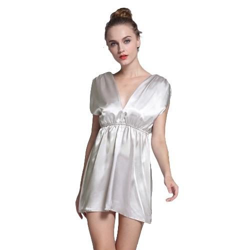 New Fashion Women Tops Satin profunda V Neck Ruched ombro cintura elástica longa Sólidos Sexy blusa Slivery / Borgonha