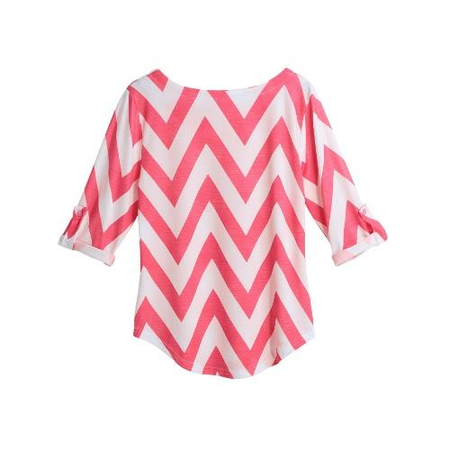 New Women T-Shirt Striped Autumn Chevron impressão de Três Quartos Laminados Sleeve bolso Asymmetric Hem Casual Top-de-rosa